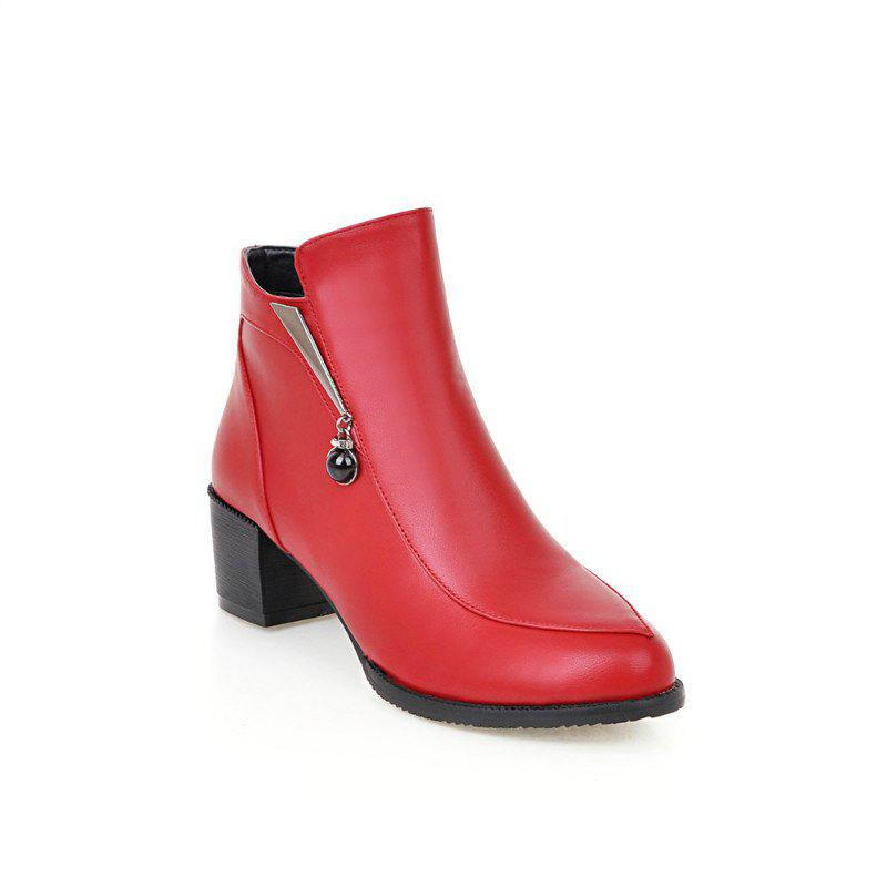 Round with All-Match Bare Boots with Thick - RED 35