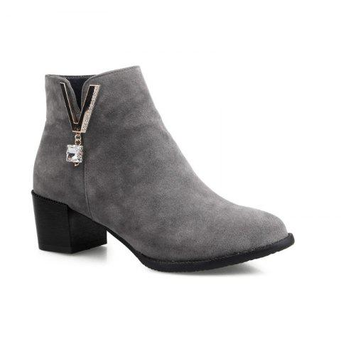 Round Head Thick Heels with Fleece Topless Boots - GRAY 39