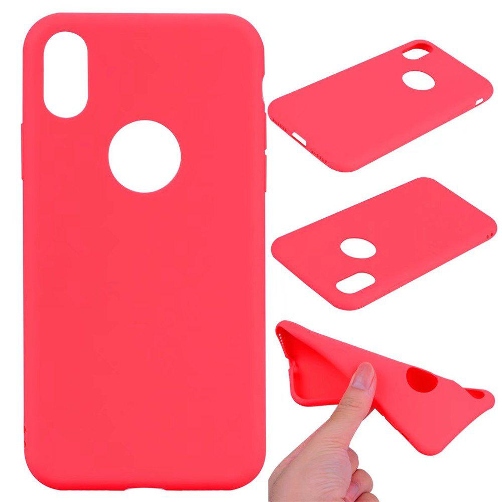 Ultra-thin Back Cover Solid Color Soft TPU Case for iPhone X - RED