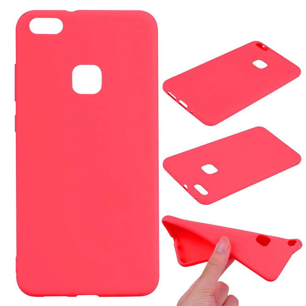 Ultra-thin Back Cover Solid Color Soft TPU Case for Huawei P10 Lite - RED