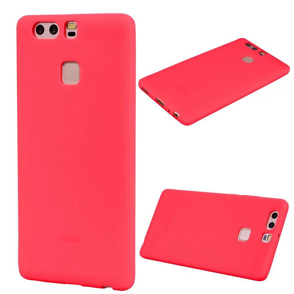 Ultra-thin Back Cover Solid Color Soft TPU Case for Huawei P9 - RED