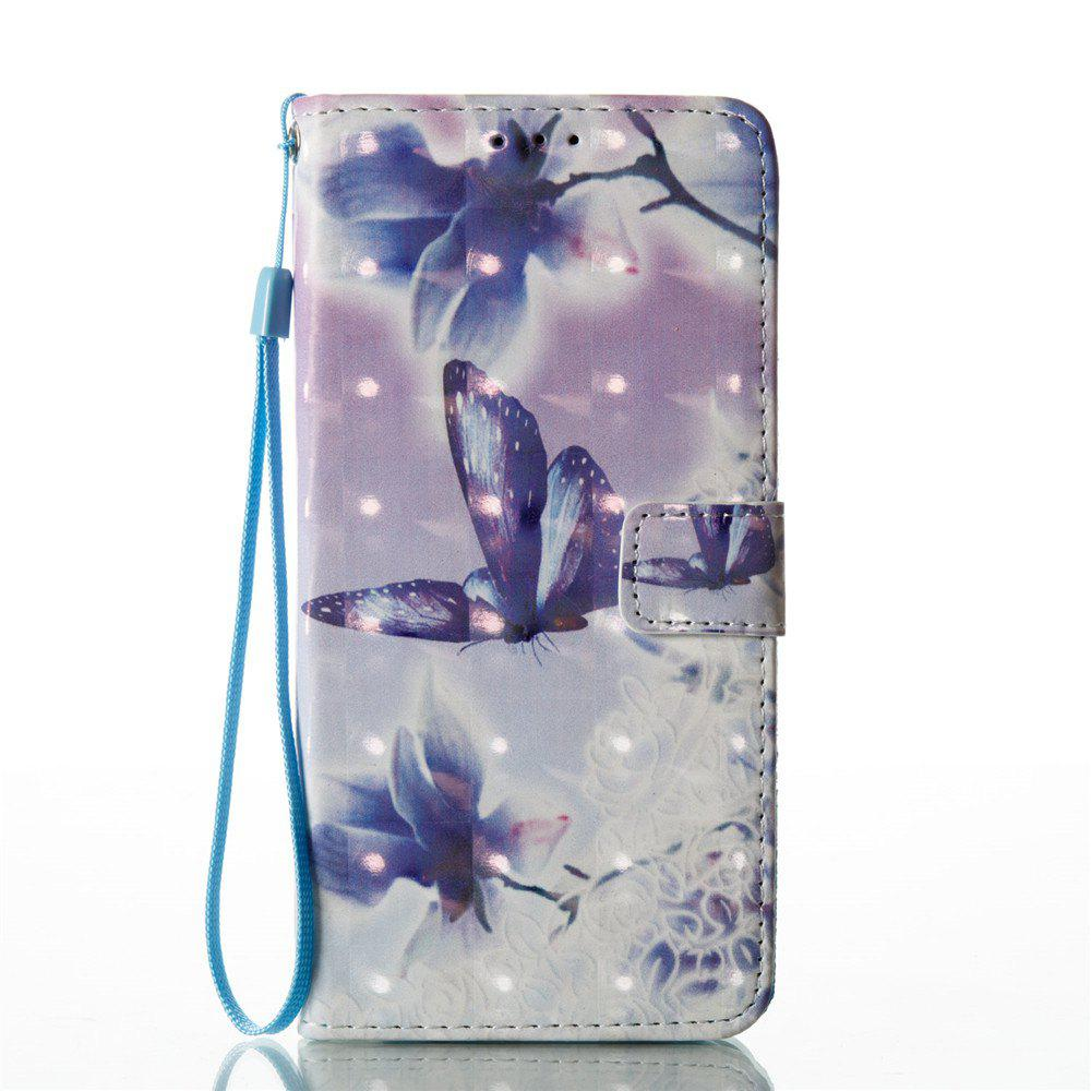 3D Painted Butterfly Leather Case for Samsung Galaxy S8 Plus - PURPLE