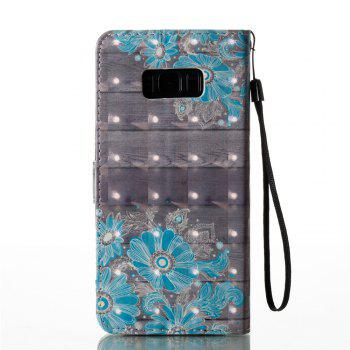 3D Painted Flower Leather Case for Samsung Galaxy S8 Plus - BLUE
