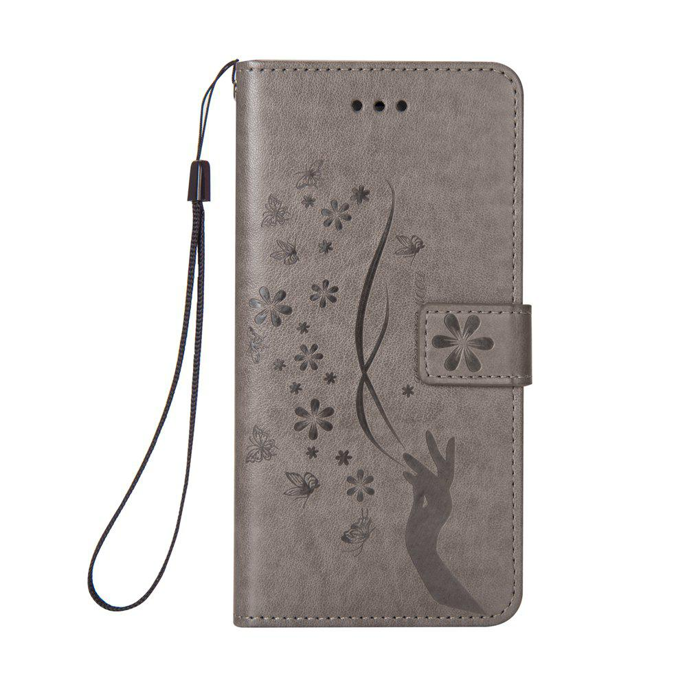 Slender Hand PU Leather Dirt Resistant Phone Case for iPhone 6 Plus - GRAY