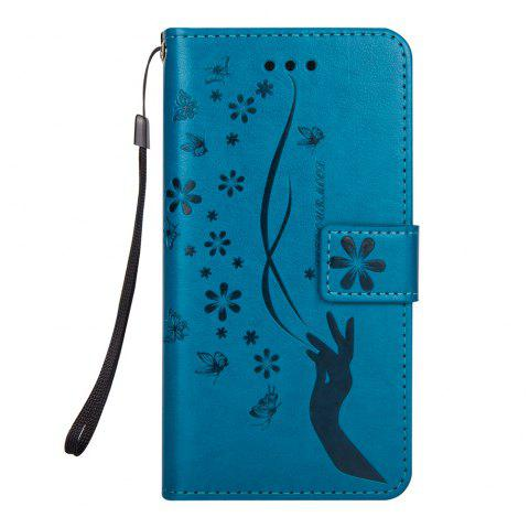 Slender Hand PU Leather Dirt Resistant Phone Case for iPhone 7 - BLUE