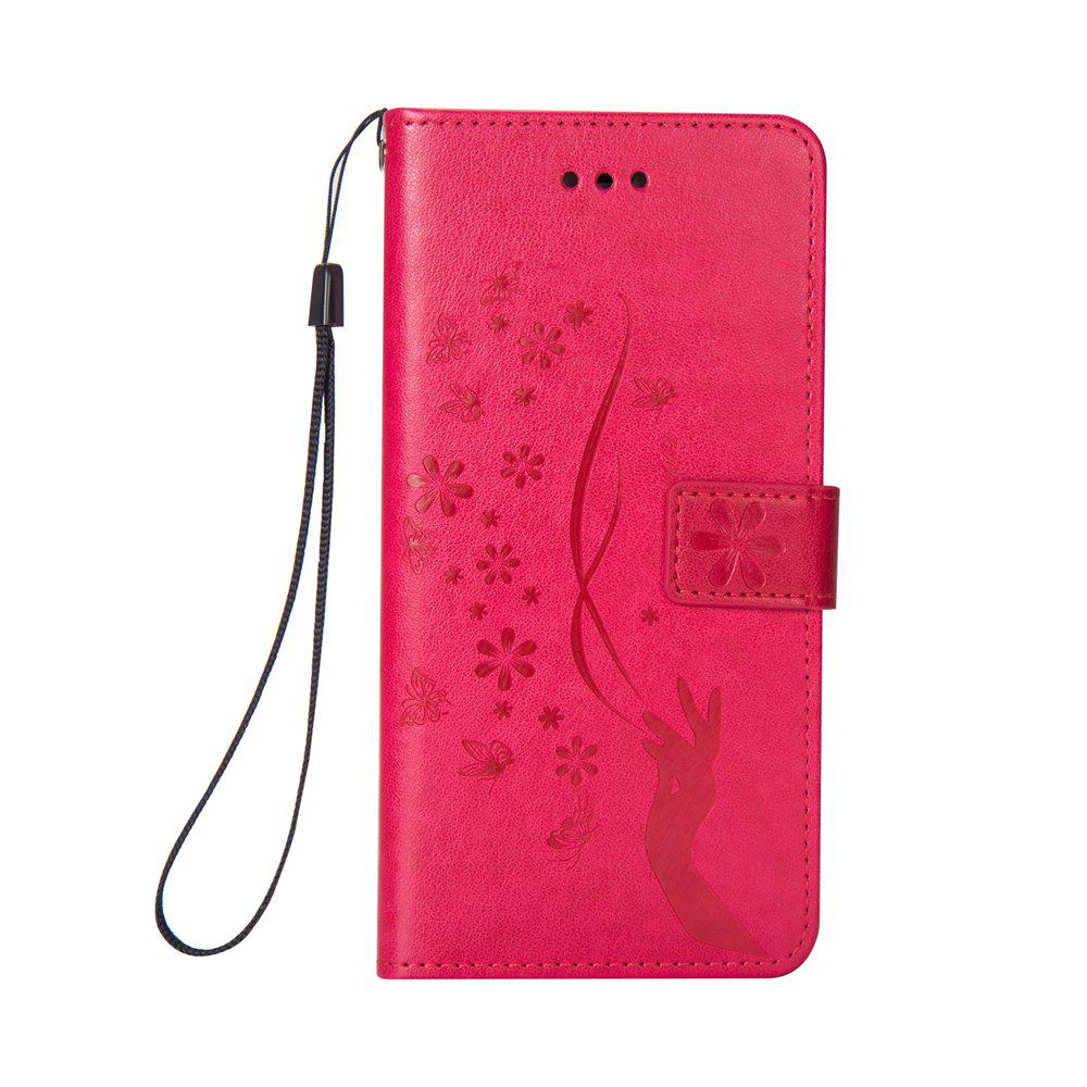 Slender Hand PU Leather Dirt Resistant Phone Case for iPhone 7 - ROSE RED