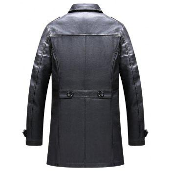 Men'S Autumn and Winter Suits Collar PU Leather Long Business Casual Fashion Jacket - BLACK BLACK