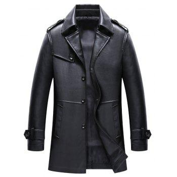 Men S Autumn and Winter Suits Collar PU Leather Long Business Casual Fashion Jacket