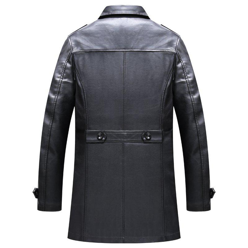 Men'S Autumn and Winter Suits Collar PU Leather Long Business Casual Fashion Jacket - BLACK 3XL