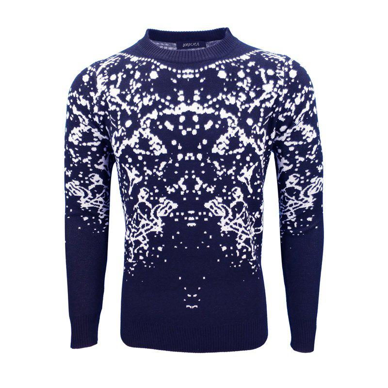 Autumn and Winter Men'S Round Collar Personality Casual Fashion Slim Pullover - CADETBLUE XL
