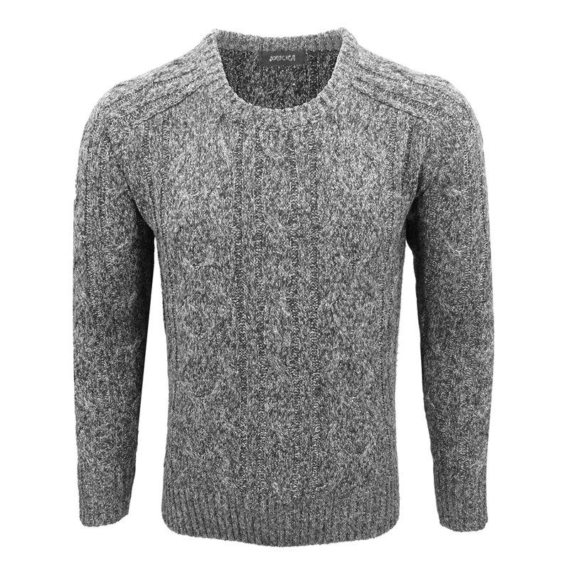 Men'S Winter Fashion Casual Base Solid Color Trend Jacquard Crew Neck Pullover - GRAY L