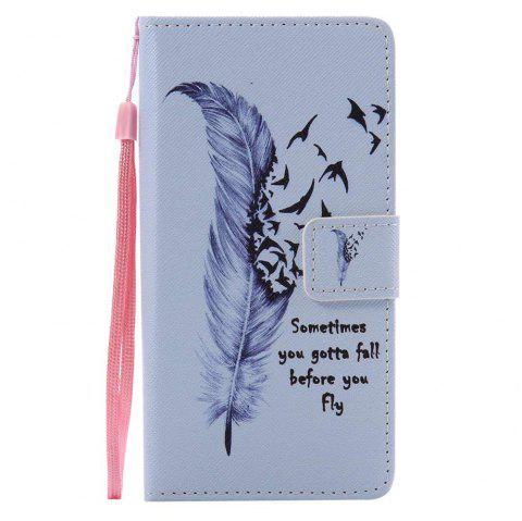 Feather Painted PU Phone Case for HUAWEI P9 Lite - COLORMIX