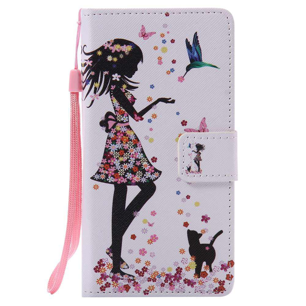Woman Cat Painted PU Phone Case for HUAWEI P9 Lite - COLORMIX