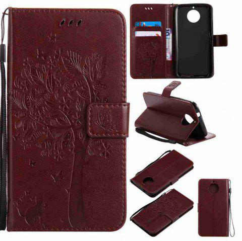 Double Embossed Sun Flower PU TPU Phone Case for  Moto G6 Plus / G5S Plus - BROWN