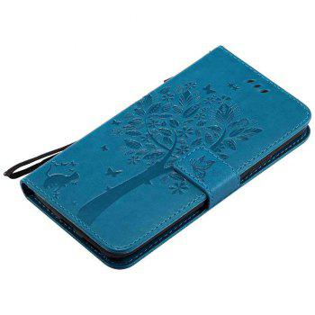 Double Embossed Sun Flower PU TPU Phone Case for  Moto G6 Plus / G5S Plus -  BLUE