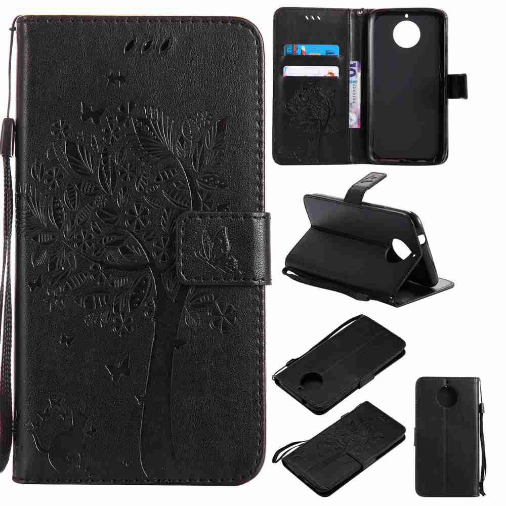 Double Embossed Sun Flower PU TPU Phone Case for  Moto G6 Plus / G5S Plus - BLACK