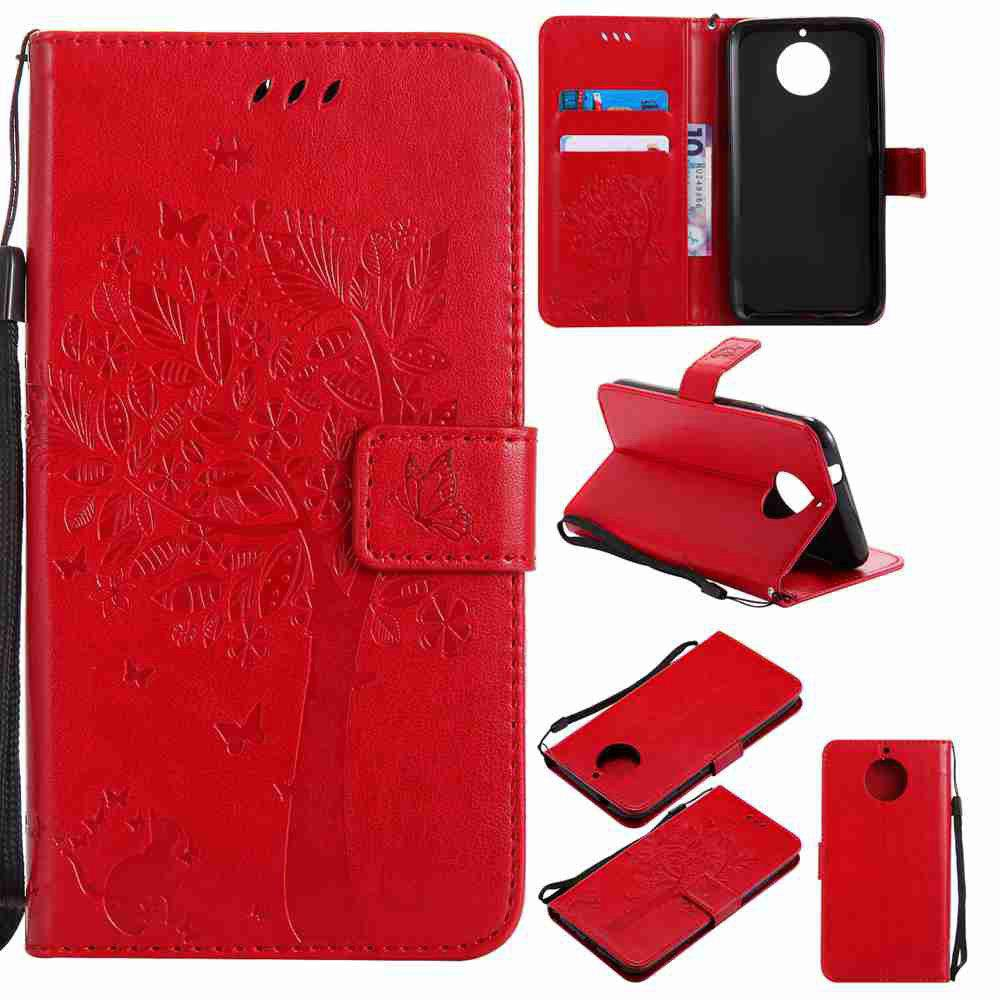 Double Embossed Sun Flower PU TPU Phone Case for  Moto G6 Plus / G5S Plus - RED