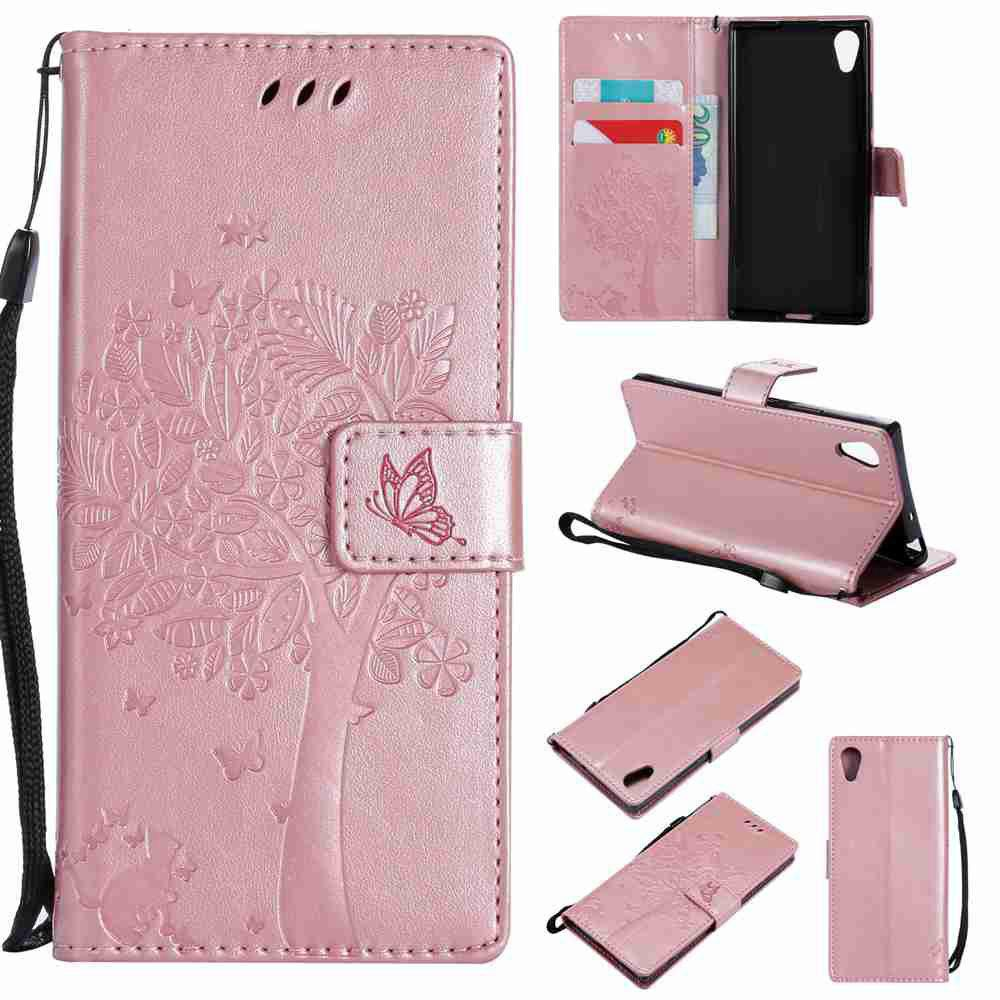 Double Embossed Sun Flower PU TPU Phone Case for  Sony Xa1 / Z6 - ROSE GOLD