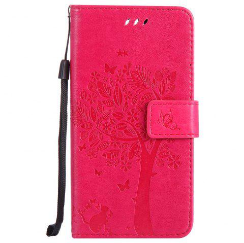 Double Embossed Sun Flower PU TPU Phone Case for  LG K10 2017 / Lv5 - ROSE MADDER