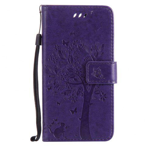 Double Embossed Sun Flower PU TPU Phone Case for  LG K10 2017 / Lv5 - PURPLE