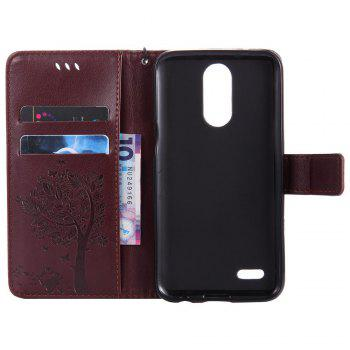 Double Embossed Sun Flower PU TPU Phone Case for  LG K10 2017 / Lv5 -  BROWN