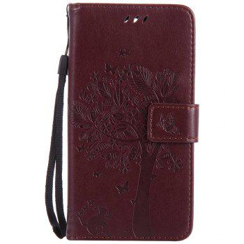 Double Embossed Sun Flower PU TPU Phone Case for  LG K10 2017 / Lv5 - BROWN BROWN