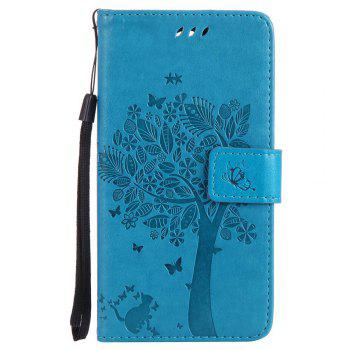 Double Embossed Sun Flower PU TPU Phone Case for  LG K10 2017 / Lv5 - BLUE BLUE