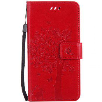 Double Embossed Sun Flower PU TPU Phone Case for  LG K10 2017 / Lv5 - RED RED