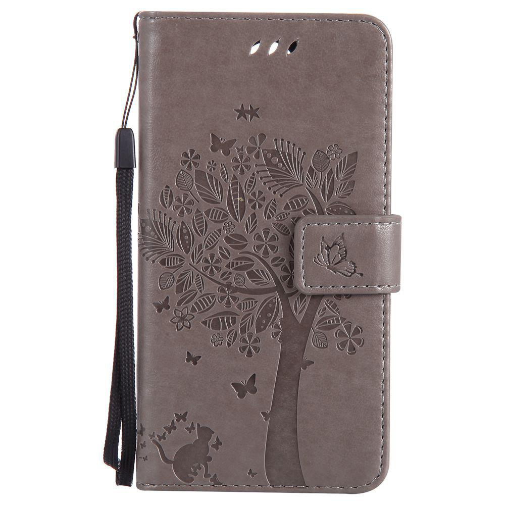 Double Embossed Sun Flower PU TPU Phone Case for  LG K10 2017 / Lv5 - GRAY