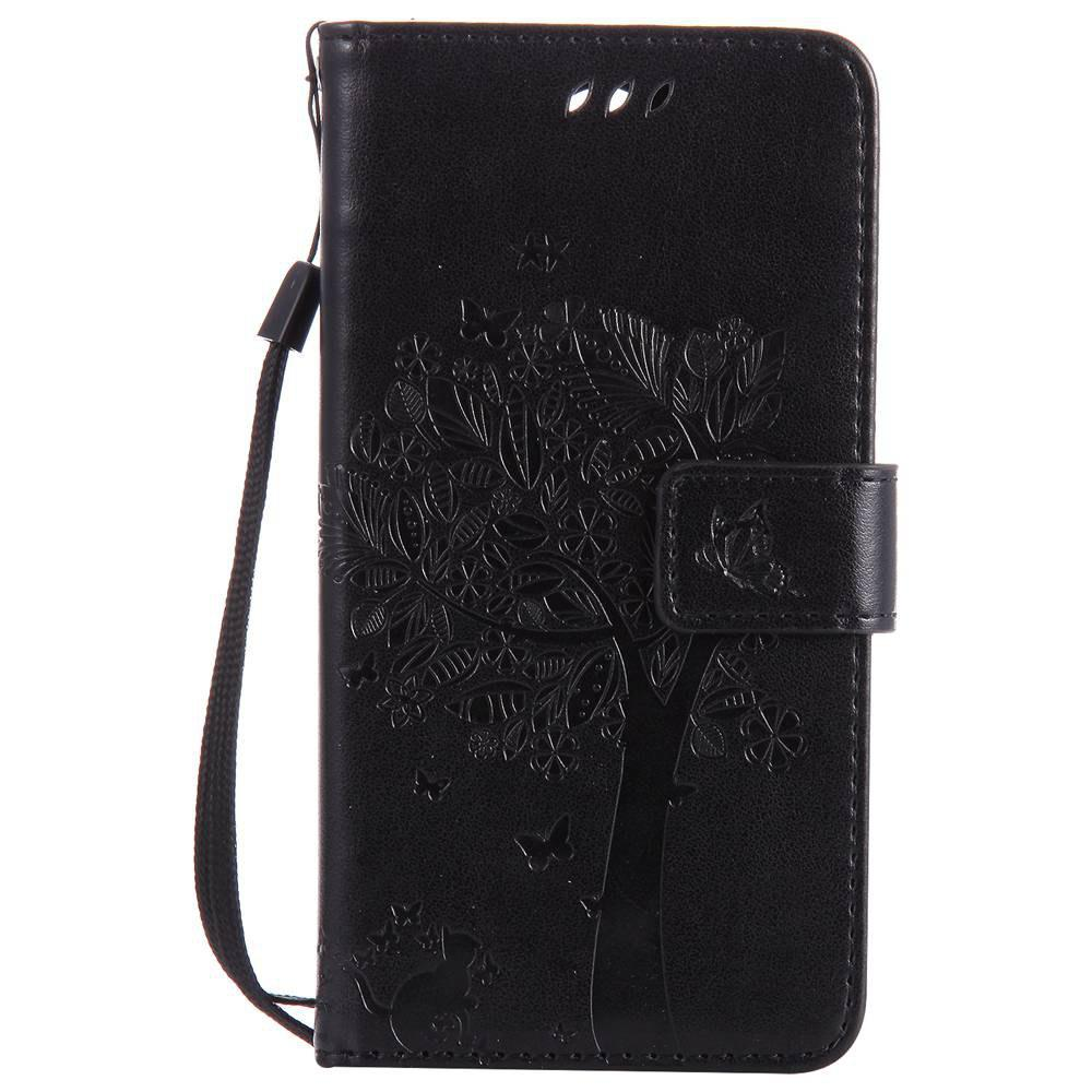 Double Embossed Sun Flower PU TPU Phone Case for  LG K10 2017 / Lv5 - BLACK