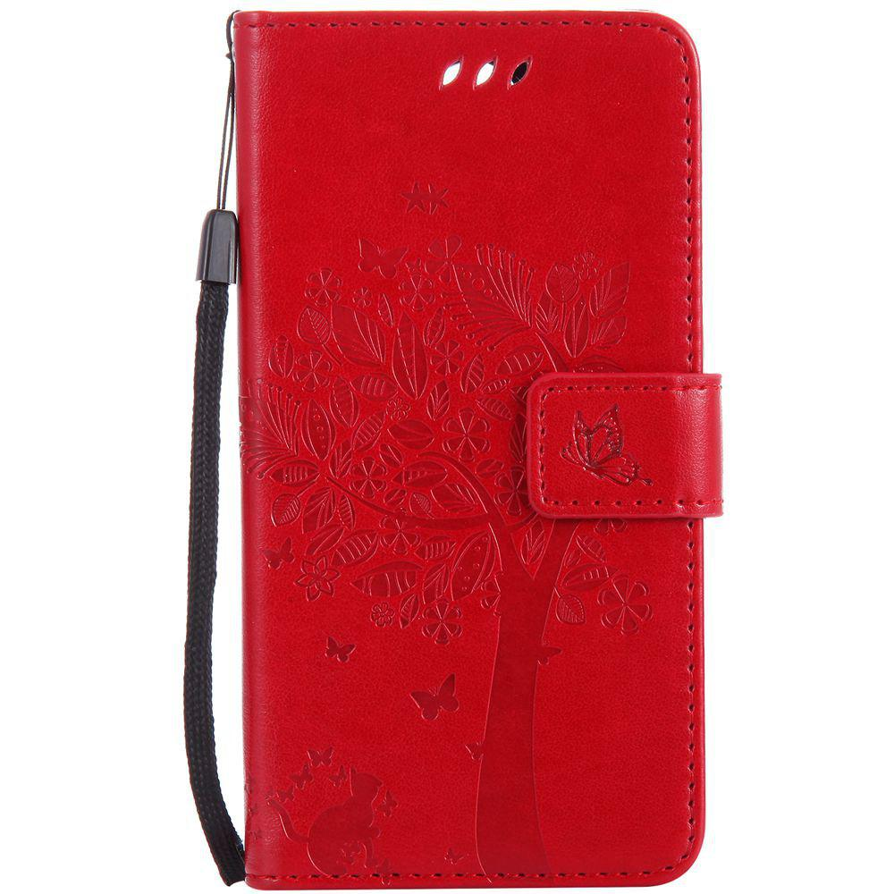 Double Embossed Sun Flower PU TPU Phone Case for  LG K10 2017 / Lv5 - RED