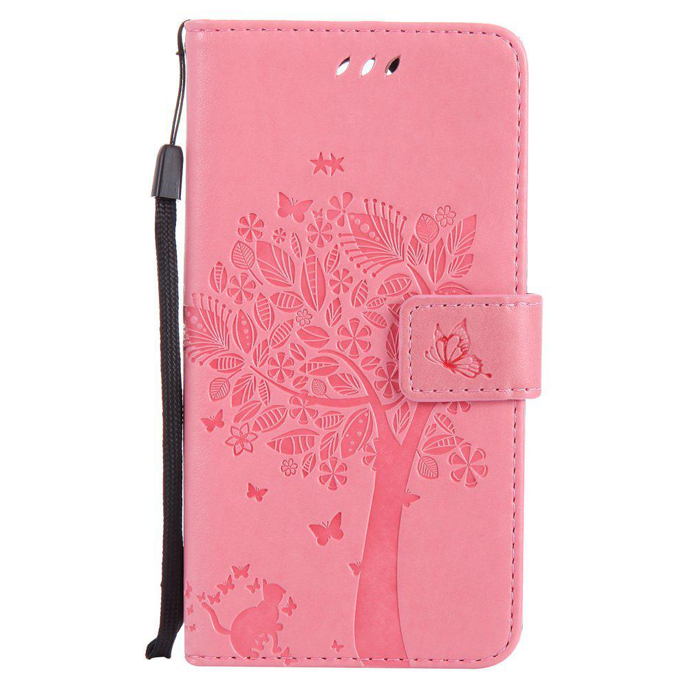 Double Embossed Sun Flower PU TPU Phone Case for  LG K10 2017 / Lv5 - PINK