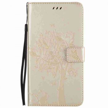 Double Embossed Sun Flower PU TPU Phone Case for  ZTE Z981 -  GOLDEN