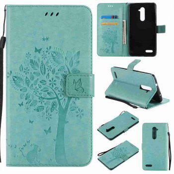 Double Embossed Sun Flower PU TPU Phone Case for  ZTE Z981 - GREEN GREEN