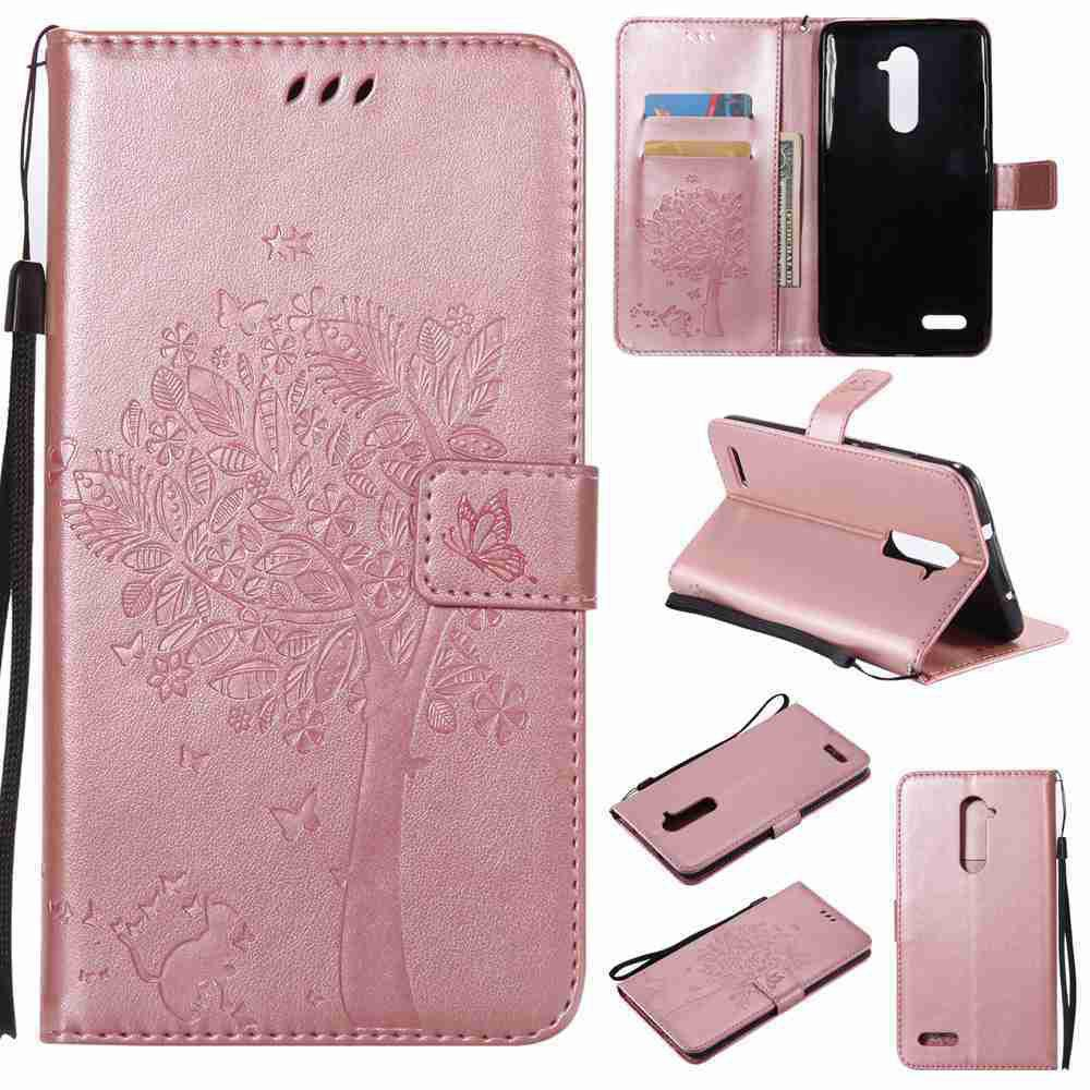 Double Embossed Sun Flower PU TPU Phone Case for  ZTE Z981 - ROSE GOLD