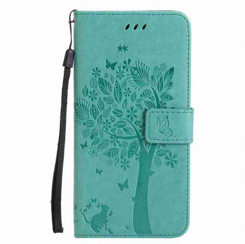 Double Embossed Sun Flower PU TPU Phone Case for  iPhone  6S Plus / 6 Plus - GREEN