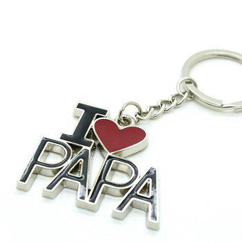 Creative I Love PAPA Word Plate Pendant Key Chain
