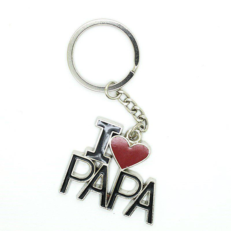 Creative I Love PAPA Word Plate Pendant Key Chain - BLACK/RED