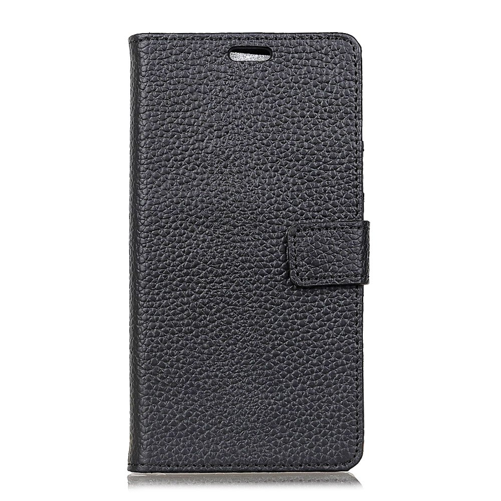 Wkae Genuine Leather Wallet Case with Kickstand for HTC U11 Plus - BLACK