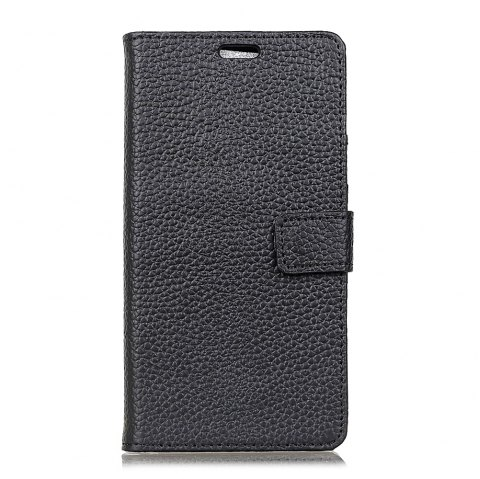 Wkae Genuine Leather Wallet Case with Kickstand for Wiko Wim - BLACK