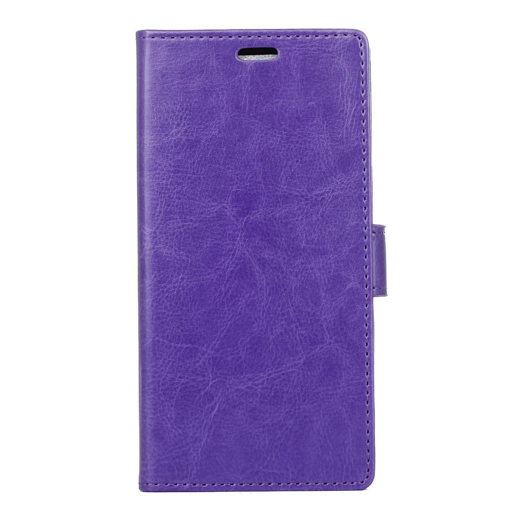 Wkae Crystal Grain Texure Faux Leather Wallet Case for Doogee X20 - PURPLE