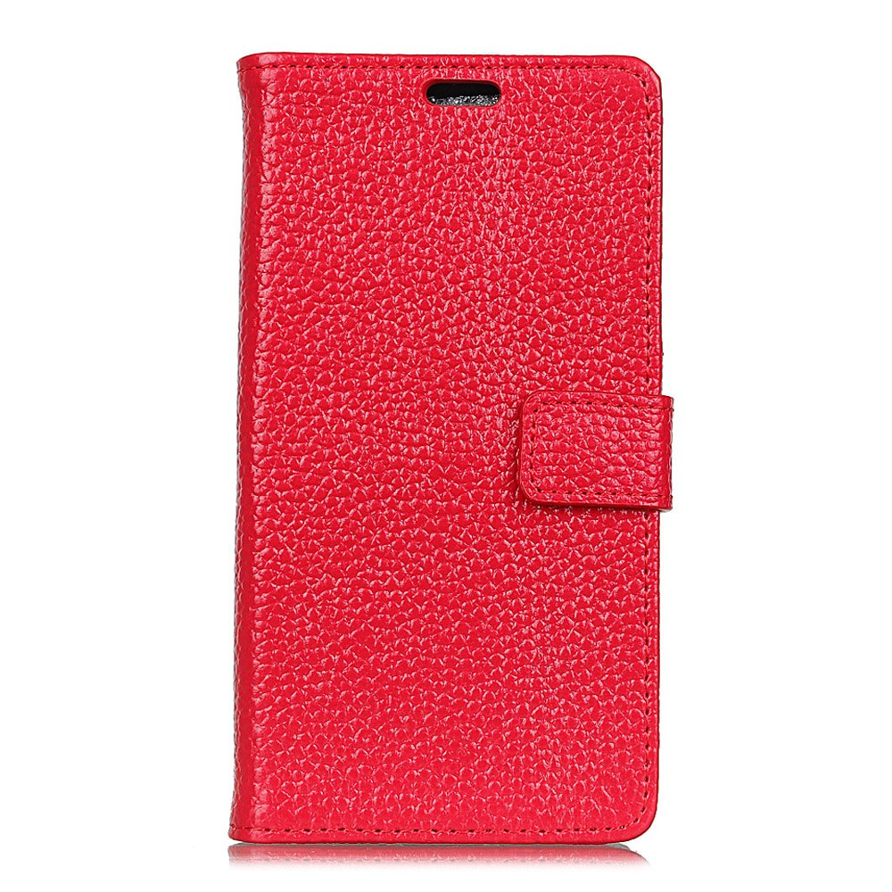 Wkae Genuine Leather Wallet Case with Kickstand for Huawei Y7 / Y7 Prime - RED