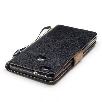 Natural Silk Double Color Texture PU Leather Case with Wallet Card Slots for Huawei P9 Lite - BLACK