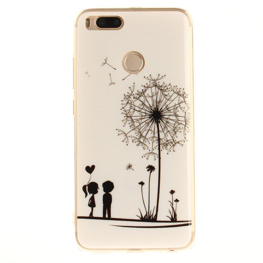 Lover Dandelion Pattern Soft Clear IMD TPU Phone Casing Mobile Smartphone Cover Shell Case for Xiaomi Mi 5X - WHITE