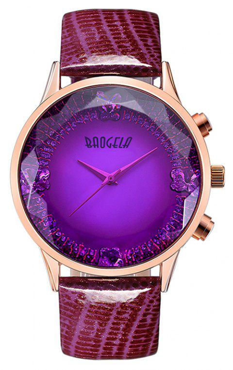 Baogela 1605 Women Fashion Quartz Genuine Leather Strap Wristwatches - VIOLET