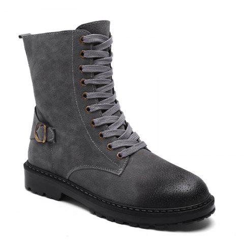 High Buckle English Dress Boots - GRAY 40