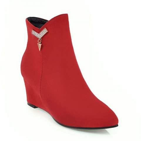 Women's Shoes Winter Fashion Pointed Toe Wedge Heel Booties - RED 38