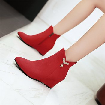 Women's Shoes Winter Fashion Pointed Toe Wedge Heel Booties - RED RED
