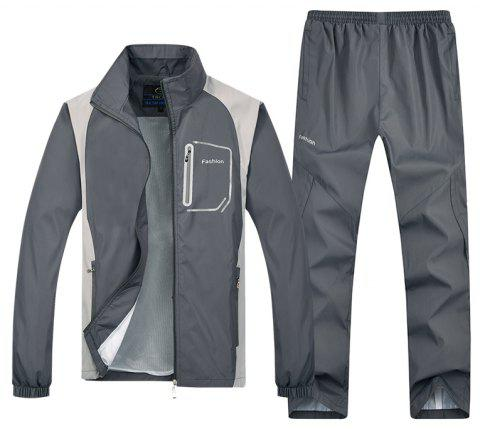 2017 New Men's Autumn Caual Sports Suit - GRAY L