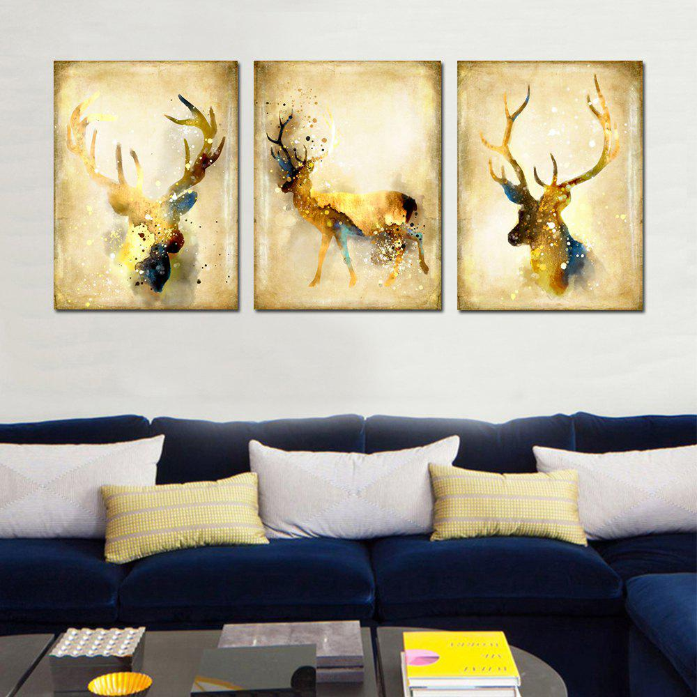 2018 Simple Abstract Animal Wall Art Elk Canvas Painting 3PCS ...